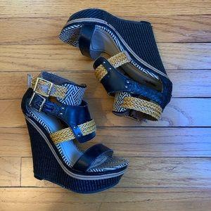 Mossimo Black/Tan Wedge Braided Sandal
